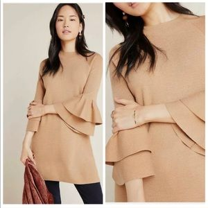 Anthropologie Claudette Ruffle Sweater Dress
